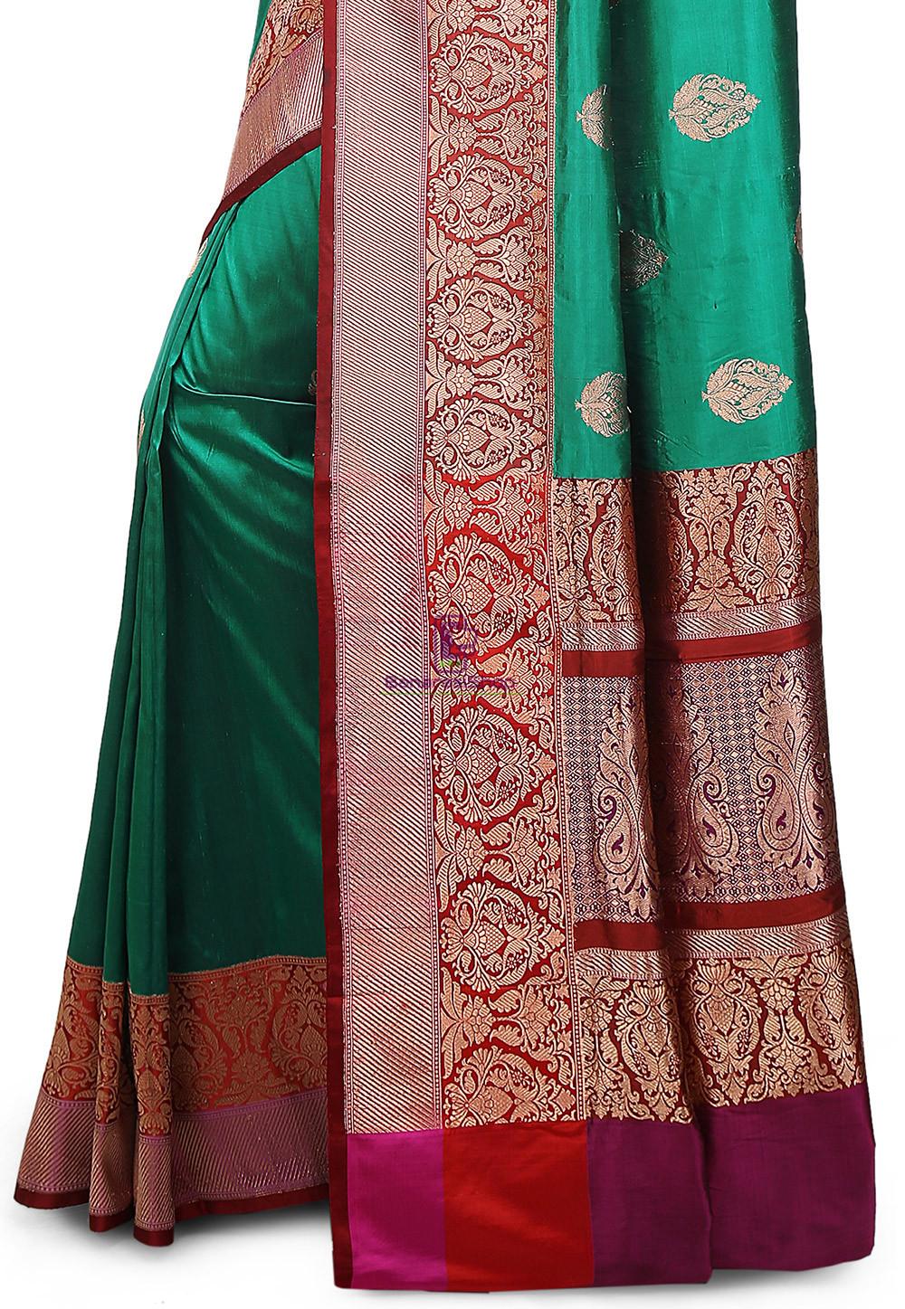 Banarasi Pure Katan Silk Handloom Saree in Teal Green 3