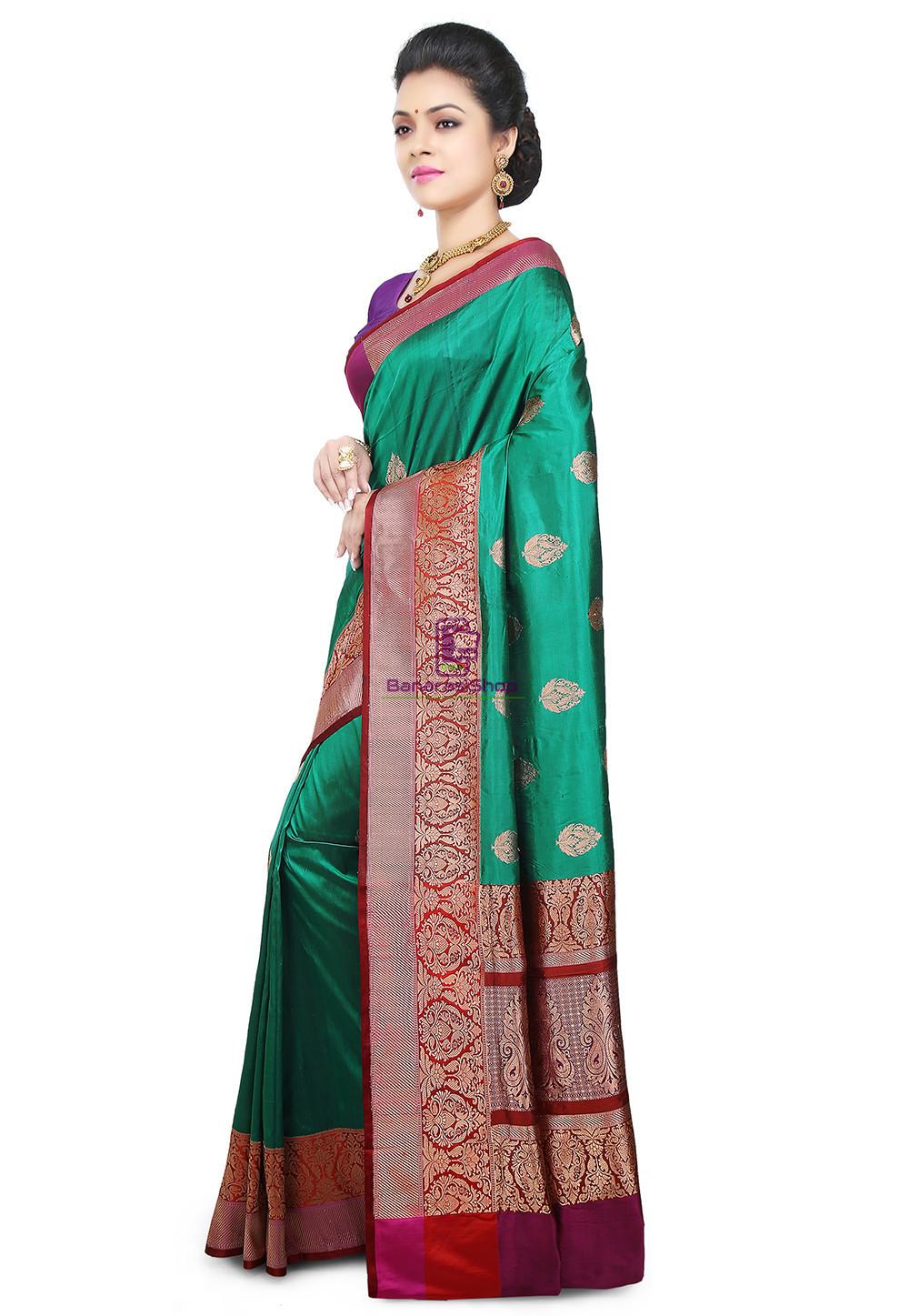 Banarasi Pure Katan Silk Handloom Saree in Teal Green 5