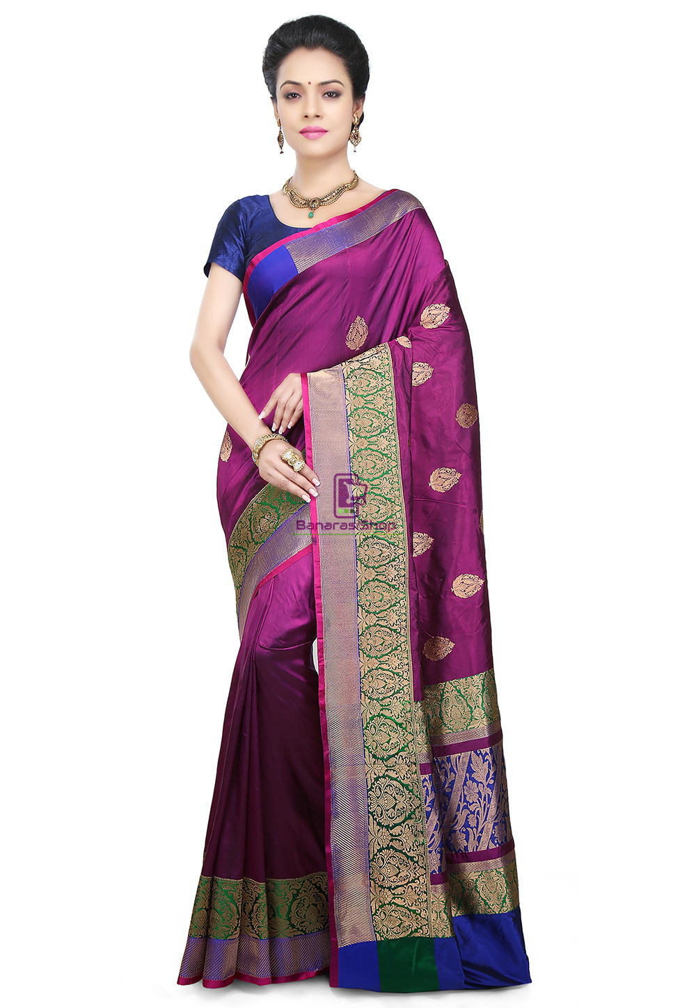 Banarasi Pure Katan Silk Handloom Saree in Purple 1