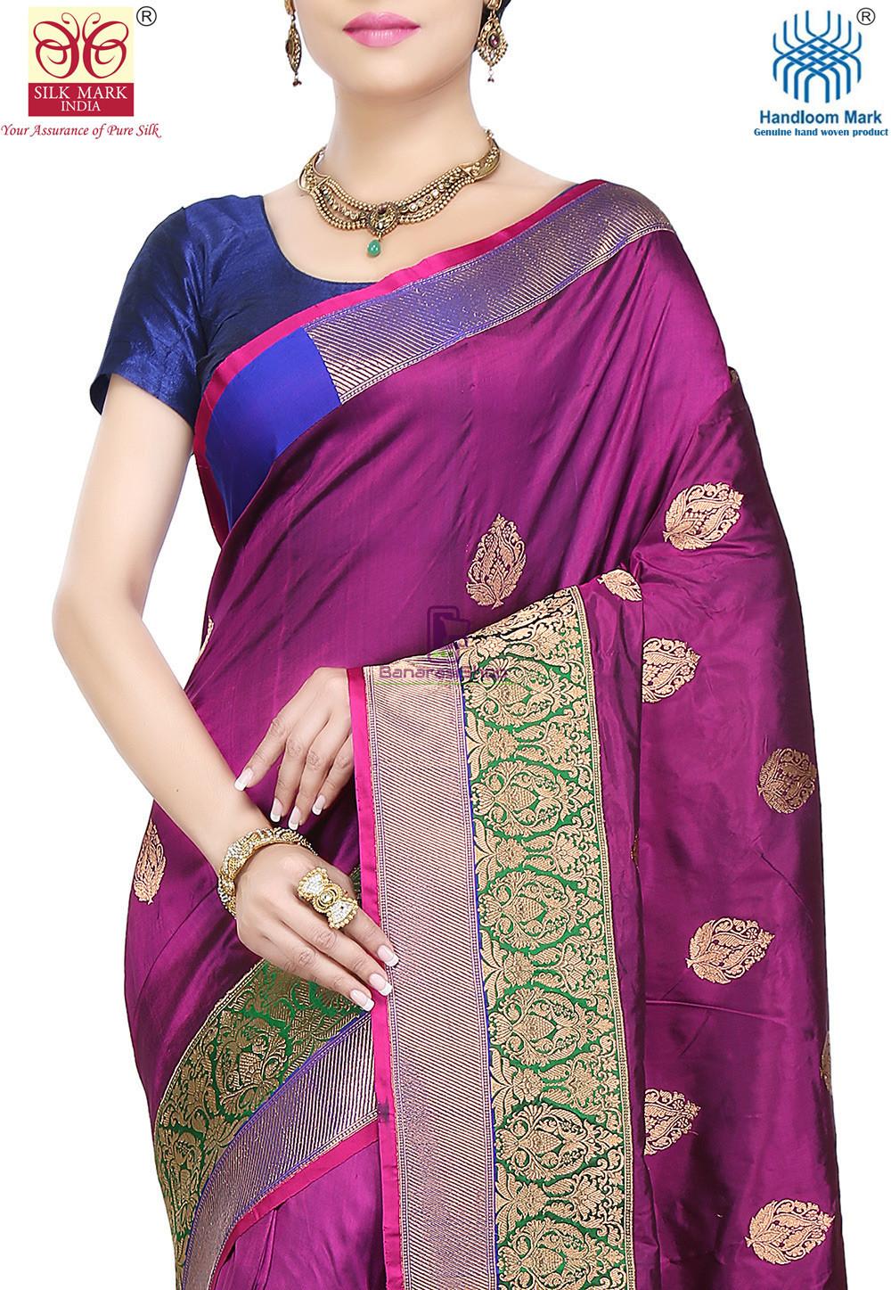 Banarasi Pure Katan Silk Handloom Saree in Purple 2