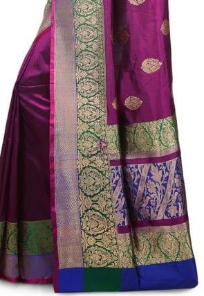Banarasi Pure Katan Silk Handloom Saree in Purple 7