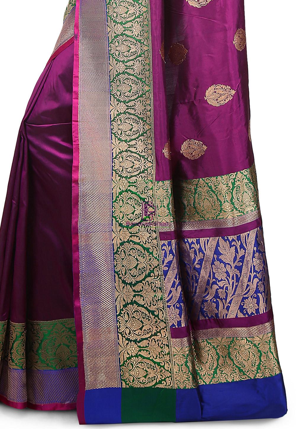 Banarasi Pure Katan Silk Handloom Saree in Purple 3