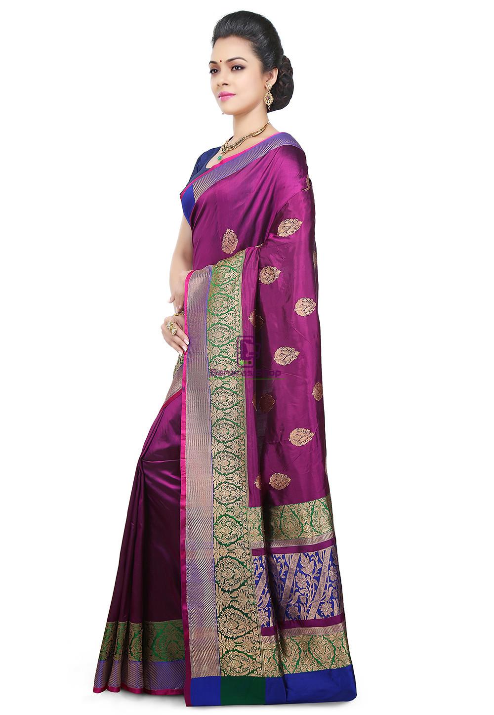 Banarasi Pure Katan Silk Handloom Saree in Purple 5