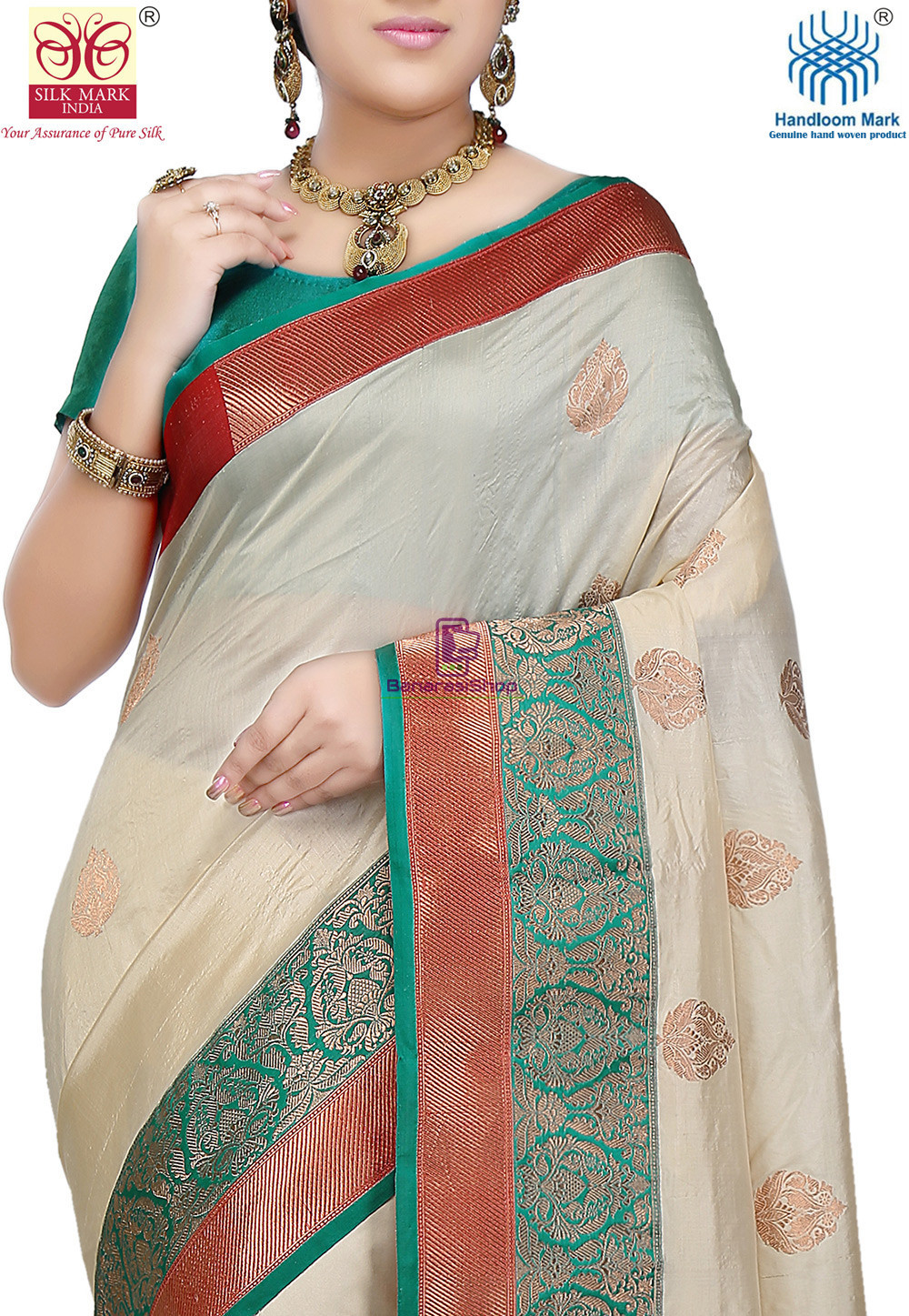 Banarasi Pure Katan Silk Handloom Saree in Light Beige 2