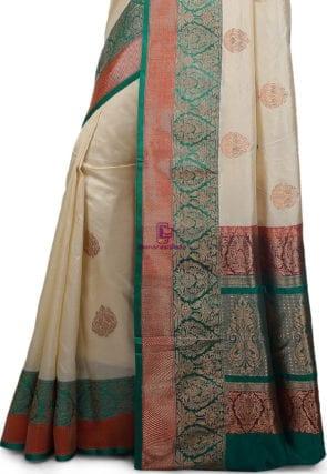 Banarasi Pure Katan Silk Handloom Saree in Light Beige 7