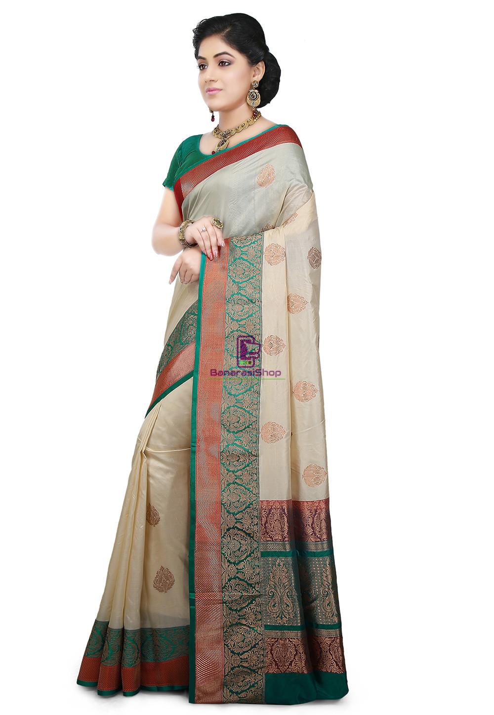 Banarasi Pure Katan Silk Handloom Saree in Light Beige 4