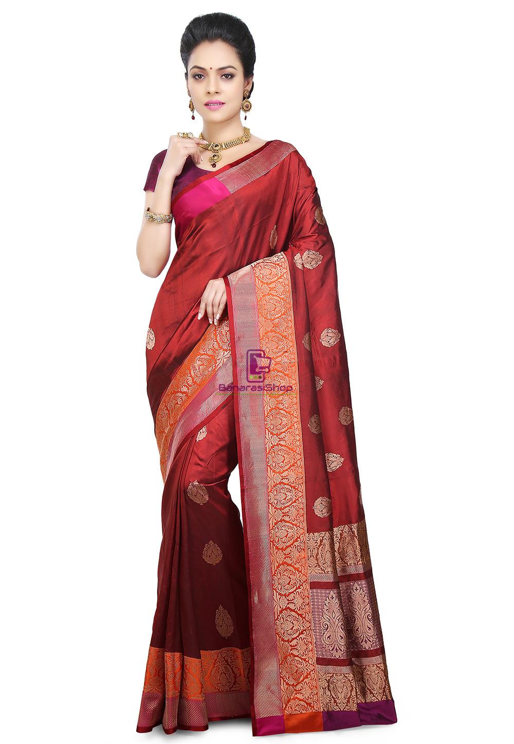 Banarasi Pure Katan Silk Handloom Saree in Maroon 1