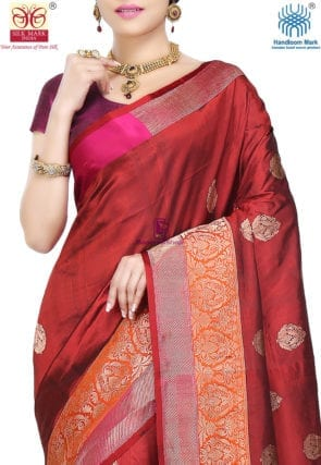 Banarasi Pure Katan Silk Handloom Saree in Maroon 6