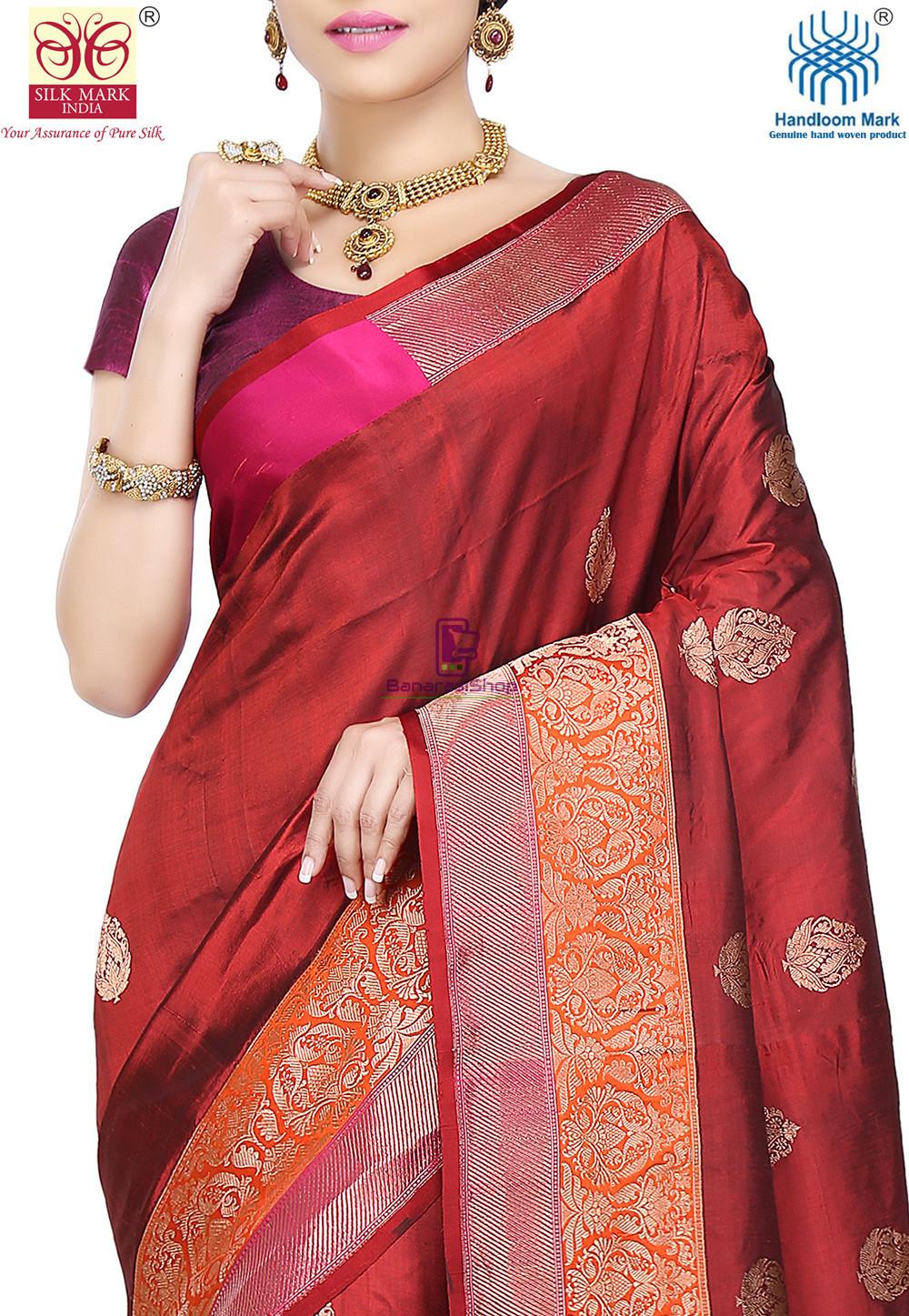 Banarasi Pure Katan Silk Handloom Saree in Maroon 2