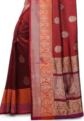Banarasi Pure Katan Silk Handloom Saree in Maroon 7