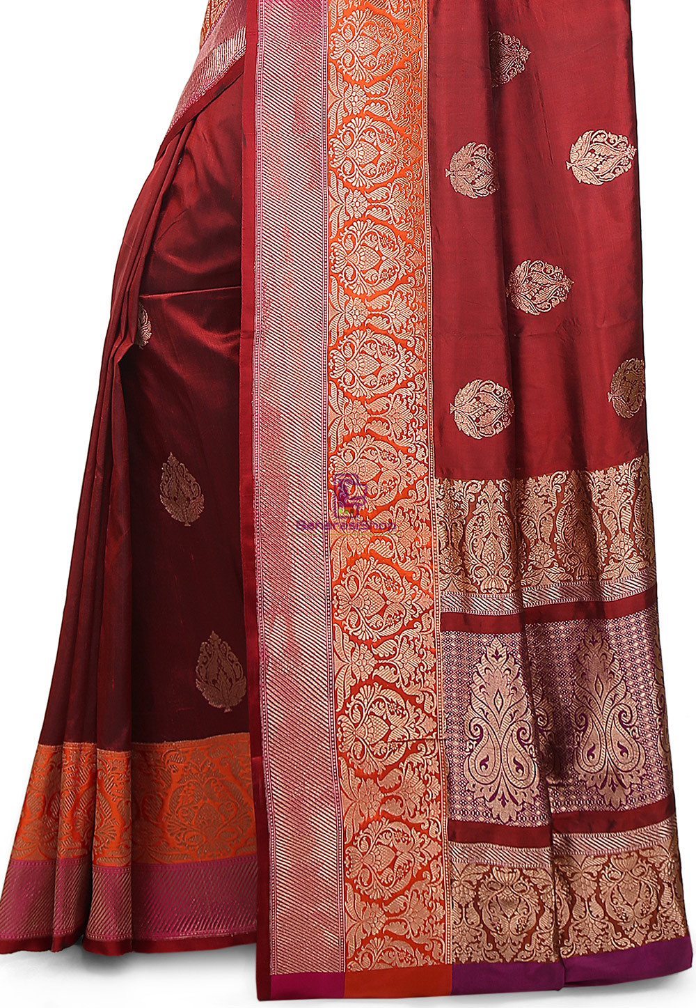 Banarasi Pure Katan Silk Handloom Saree in Maroon 3