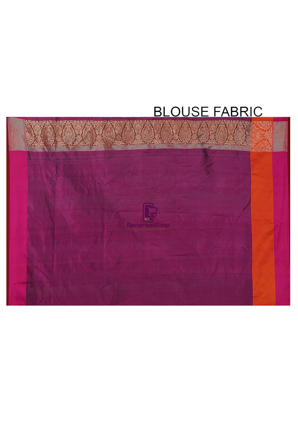 Banarasi Pure Katan Silk Handloom Saree in Maroon 4