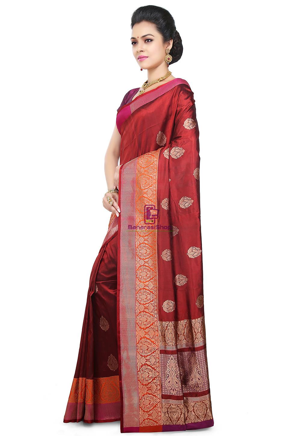 Banarasi Pure Katan Silk Handloom Saree in Maroon 5