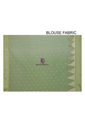 Woven Banarasi Cotton Silk Saree in Light Green 6