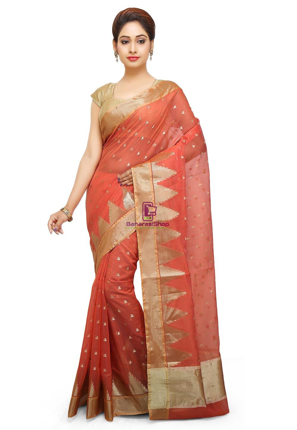 Woven Banarasi Cotton Silk Saree in Dark Peach 1
