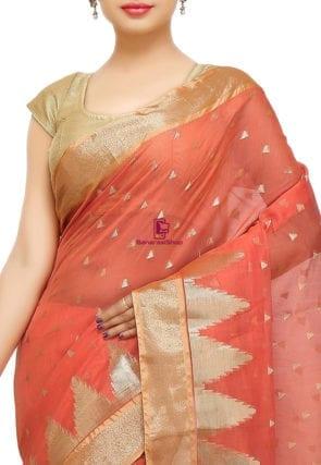 Woven Banarasi Cotton Silk Saree in Dark Peach 6