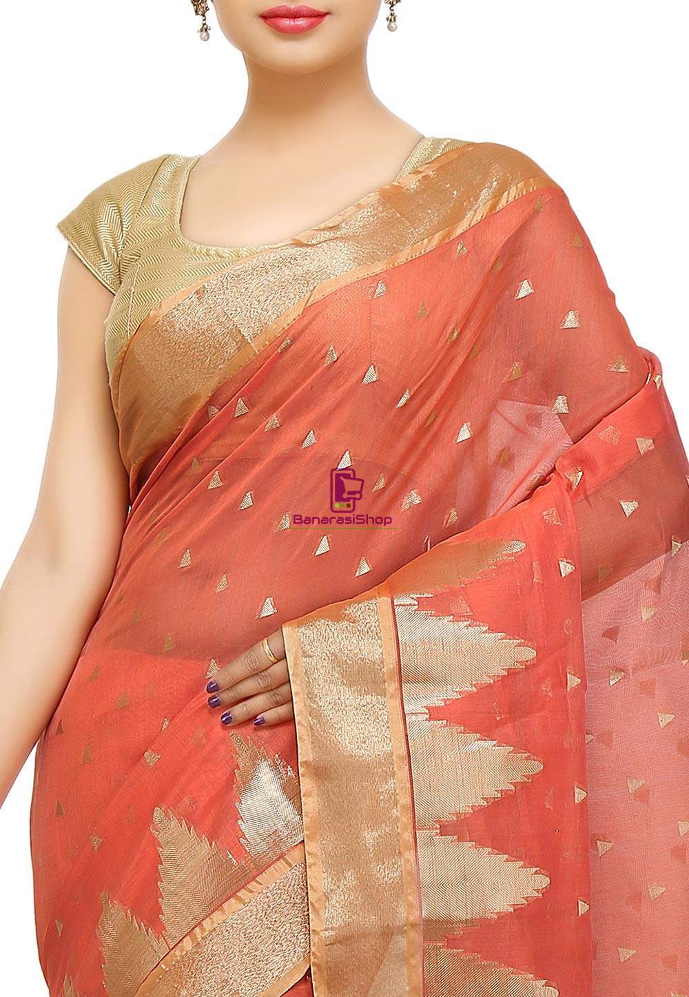 Woven Banarasi Cotton Silk Saree in Dark Peach 3