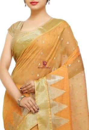 Woven Banarasi Cotton Silk Saree in Mustard 5