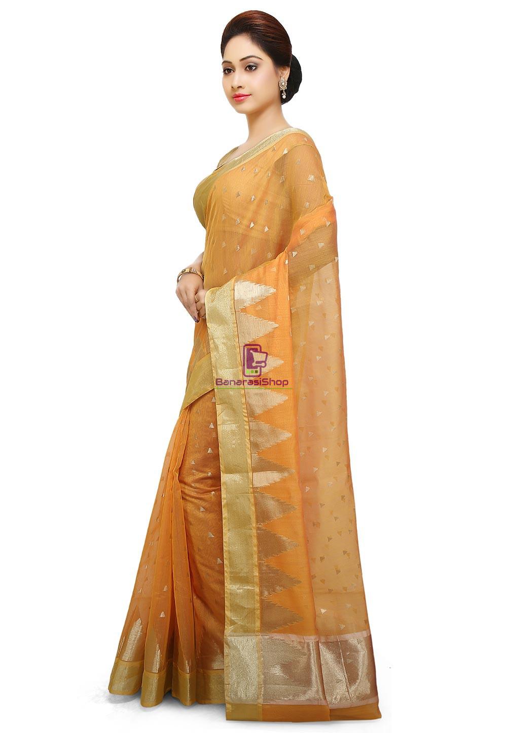 Woven Banarasi Cotton Silk Saree in Mustard 4