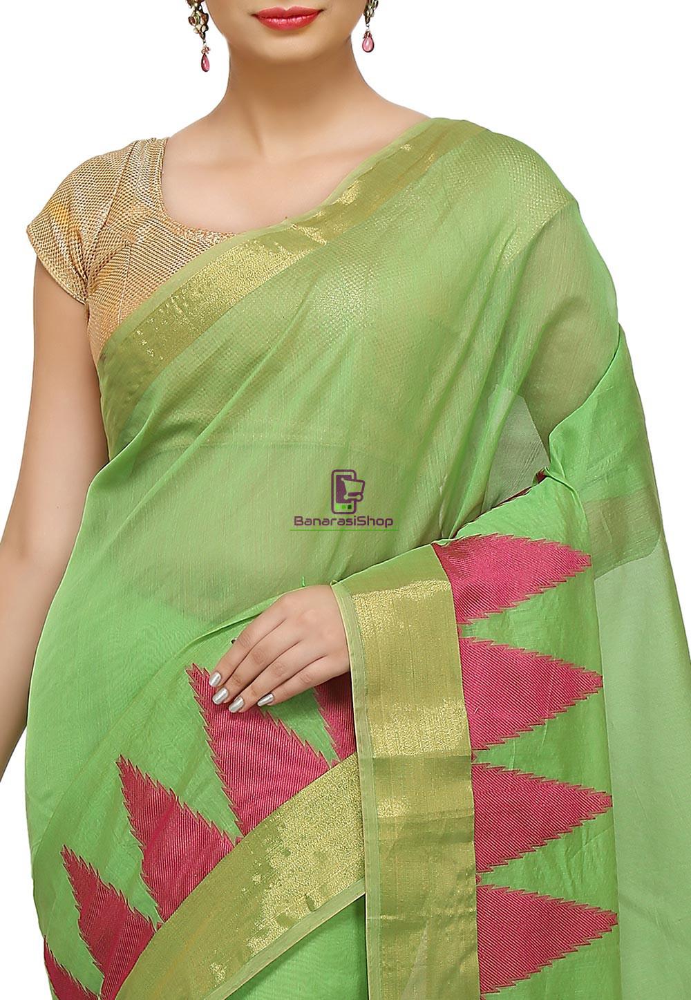Woven Banarasi Cotton Silk Saree in Light Green 2