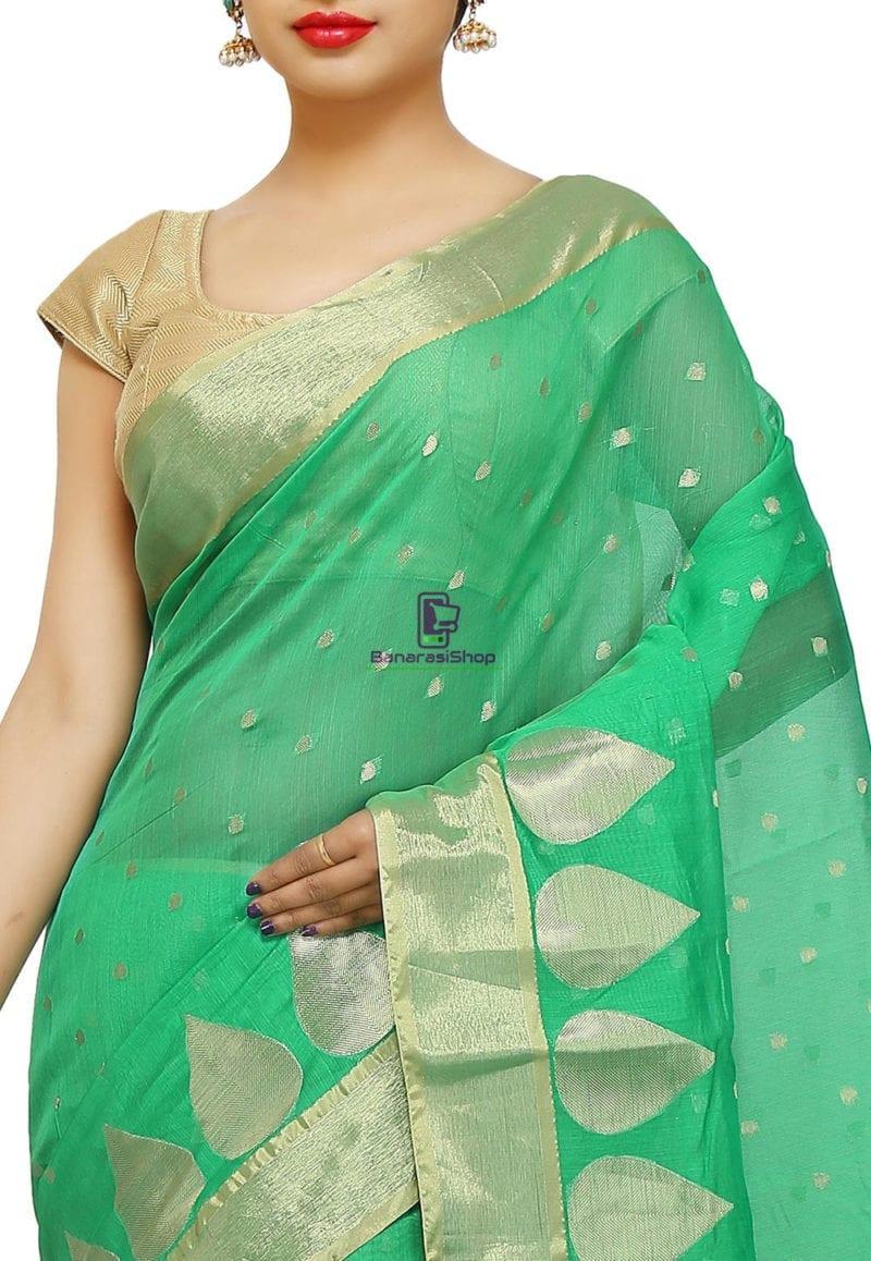Woven Banarasi Cotton Silk Saree in Green 2