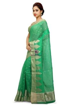 Woven Banarasi Cotton Silk Saree in Green 7