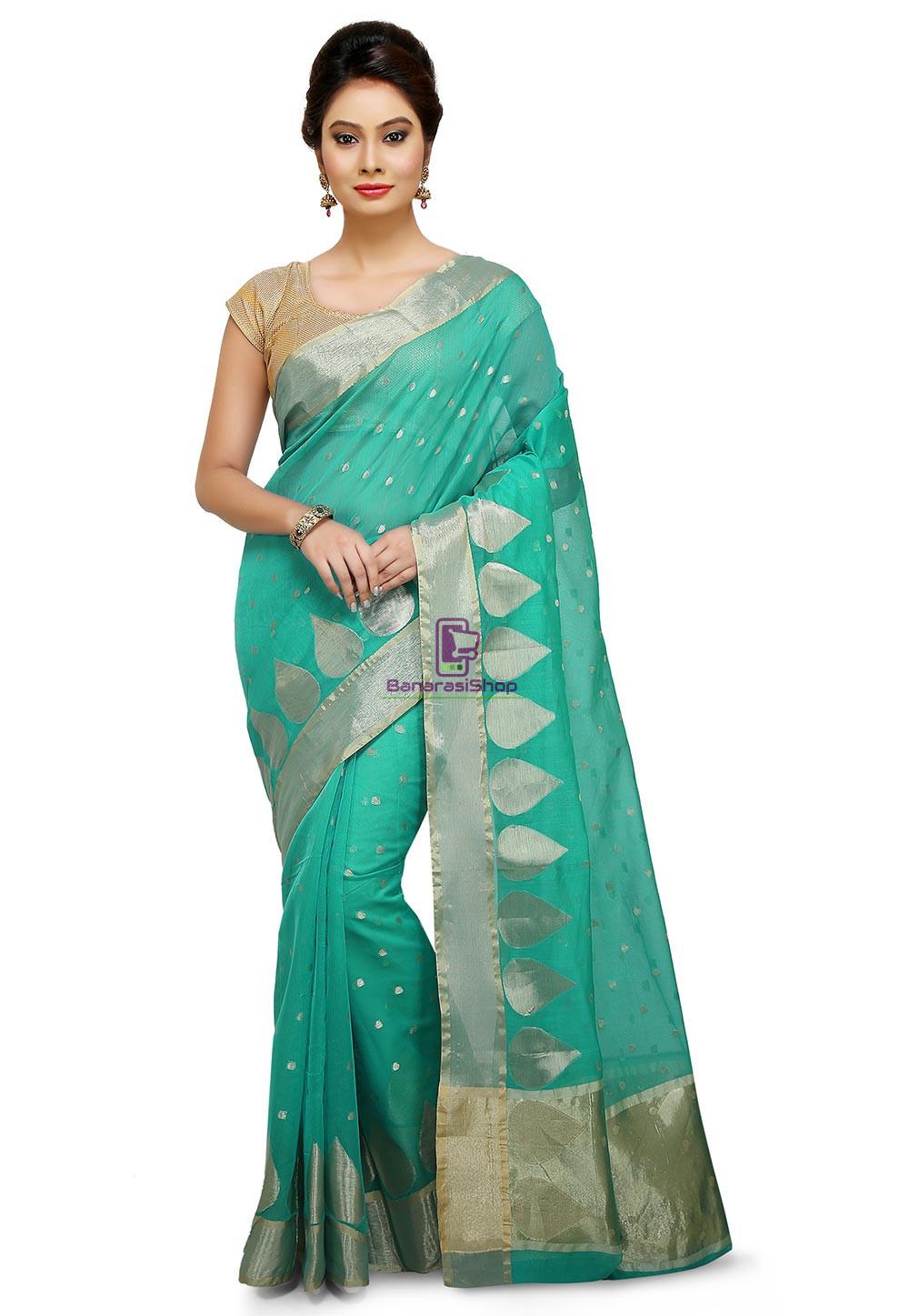 Woven Banarasi Cotton Silk Saree in Teal Green 1