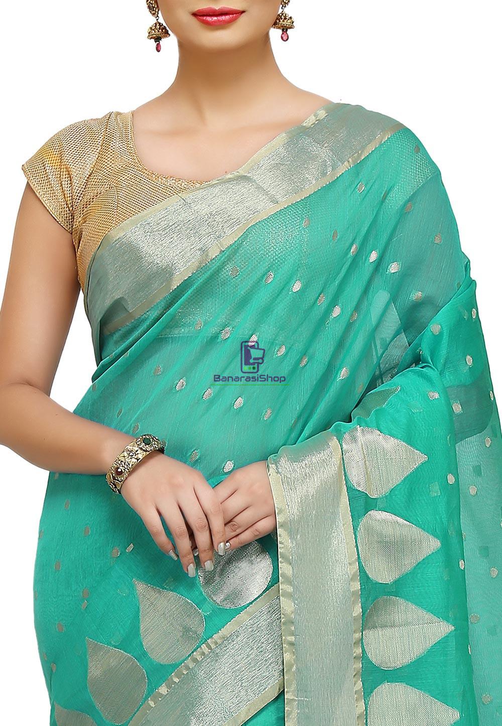 Woven Banarasi Cotton Silk Saree in Teal Green 2