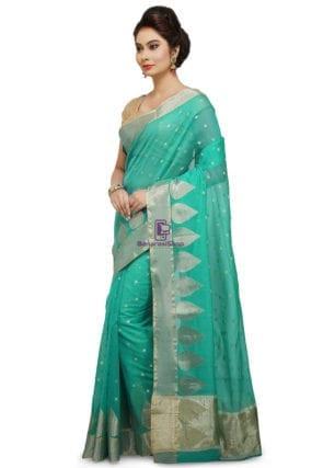 Woven Banarasi Cotton Silk Saree in Teal Green 7