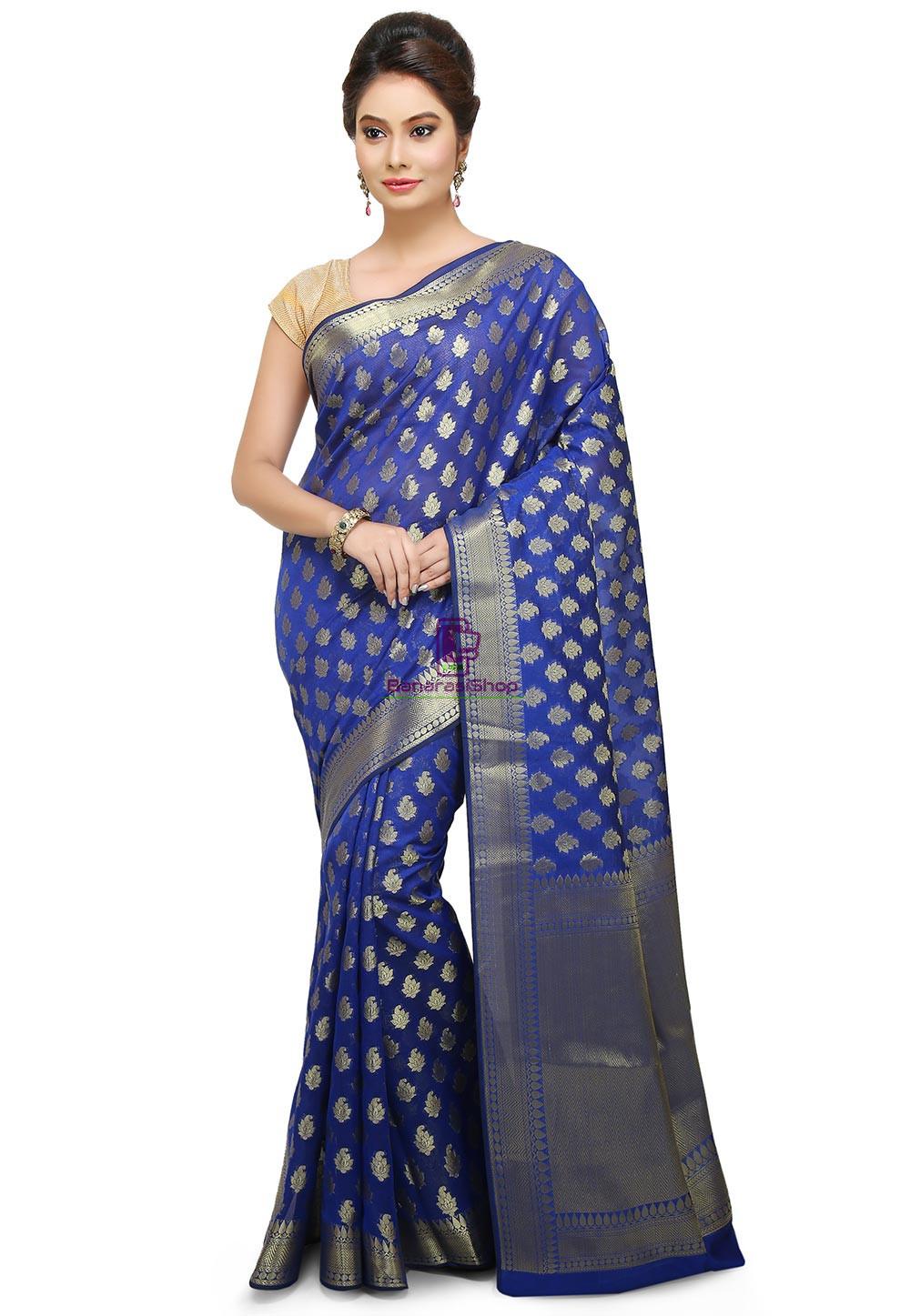 Banarasi Saree in Royal Blue 1