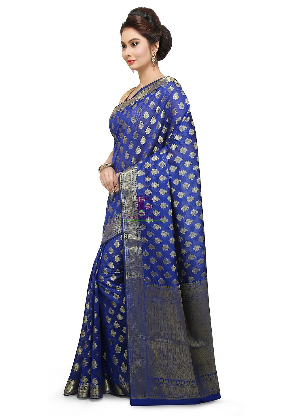 Banarasi Saree in Royal Blue 5