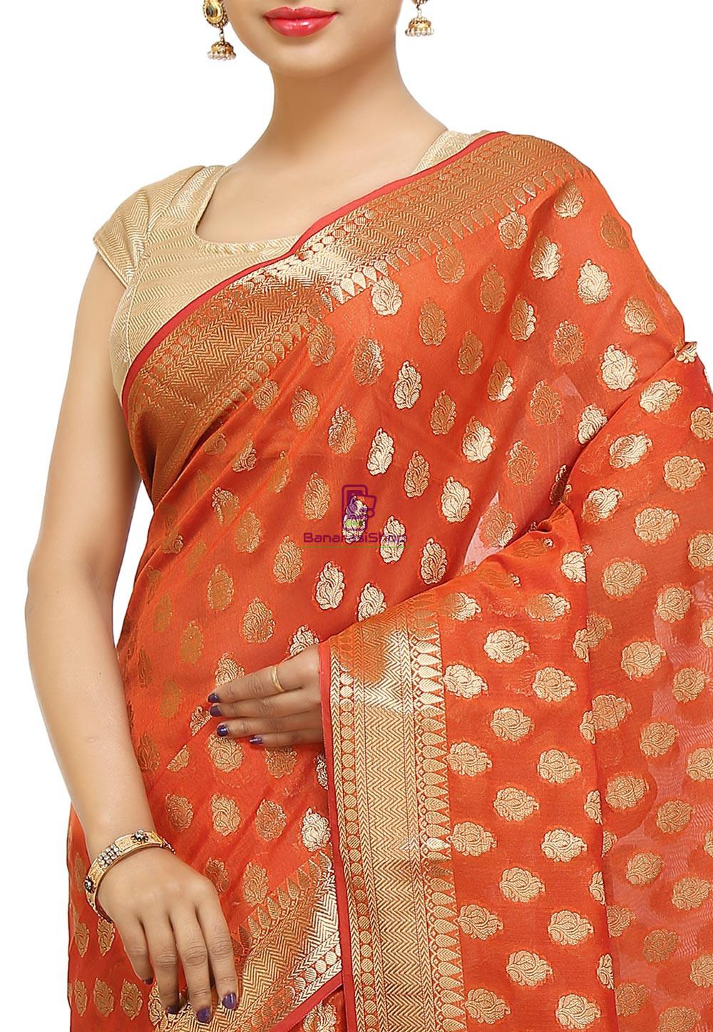 Banarasi Saree in Orange 2