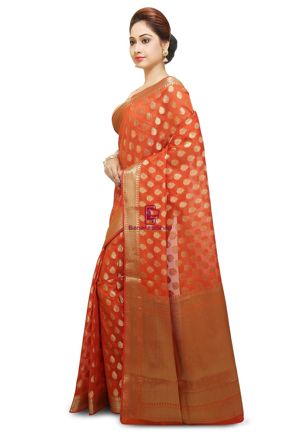 Banarasi Saree in Orange 5
