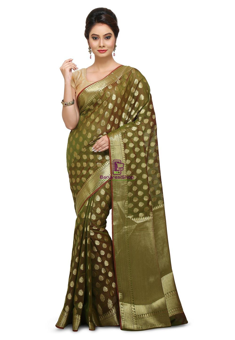 Banarasi Saree in Olive Green 1