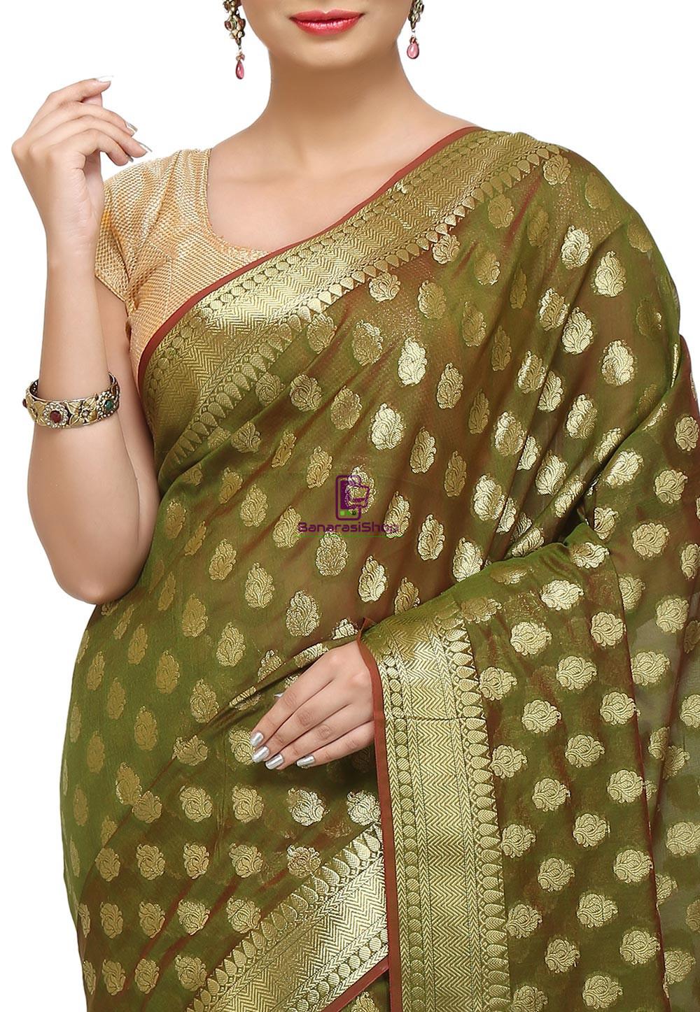 Banarasi Saree in Olive Green 2
