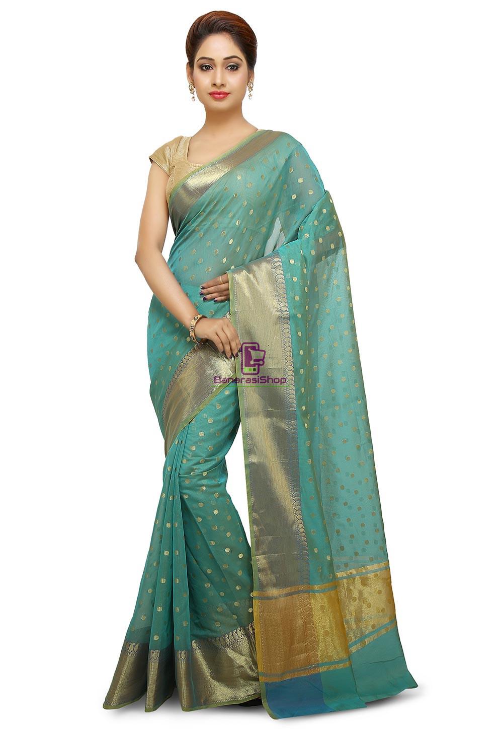 Banarasi Saree in Turquoise 1
