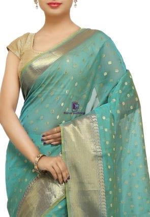 Banarasi Saree in Turquoise 5