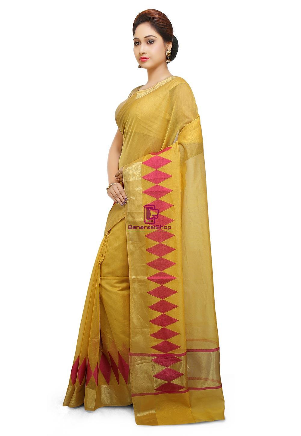 Woven Banarasi Cotton Silk Saree in Yellow 4