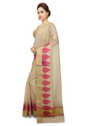 Woven Banarasi Cotton Silk Saree in Light Beige 7