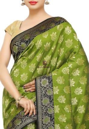 Banarasi Saree in Olive Green 6