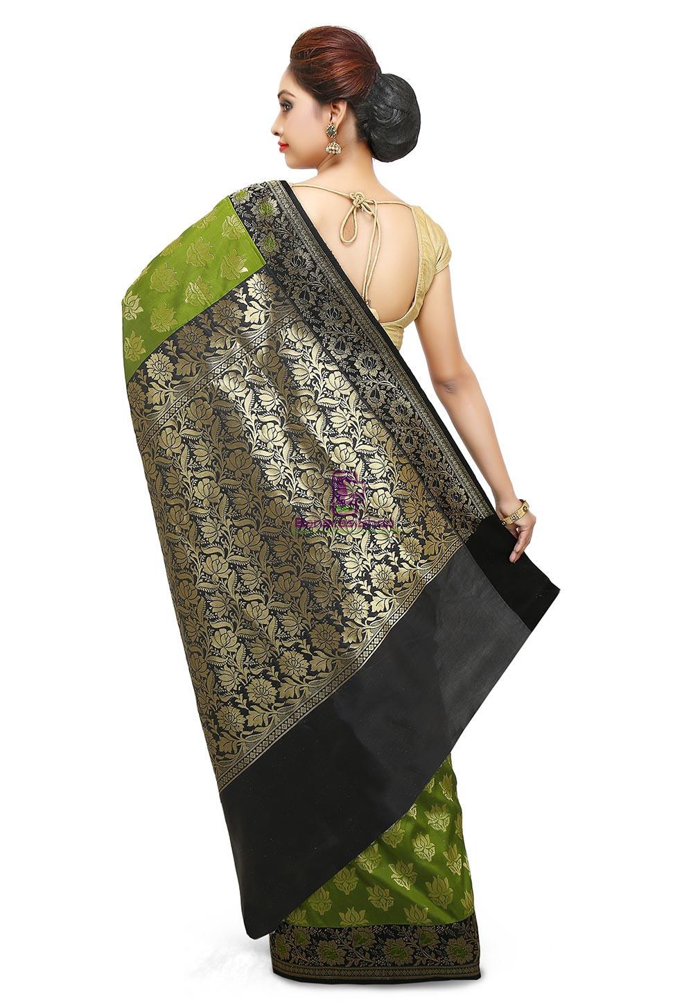 Banarasi Saree in Olive Green 5