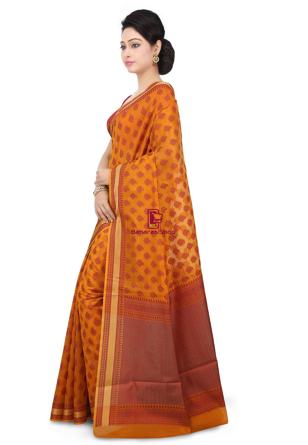 Woven Banarasi Chanderi Silk Saree in Mustard 4