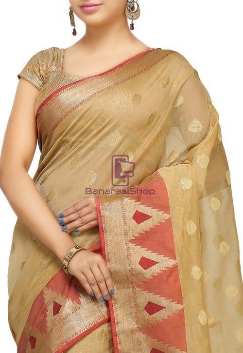 Woven Banarasi Cotton Silk Jacquard Saree in Beige 4
