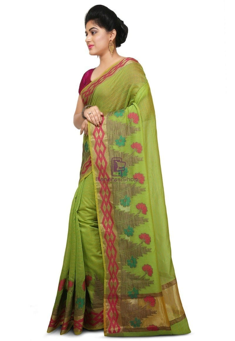 Woven Banarasi Cotton Silk Saree in Light Green 2