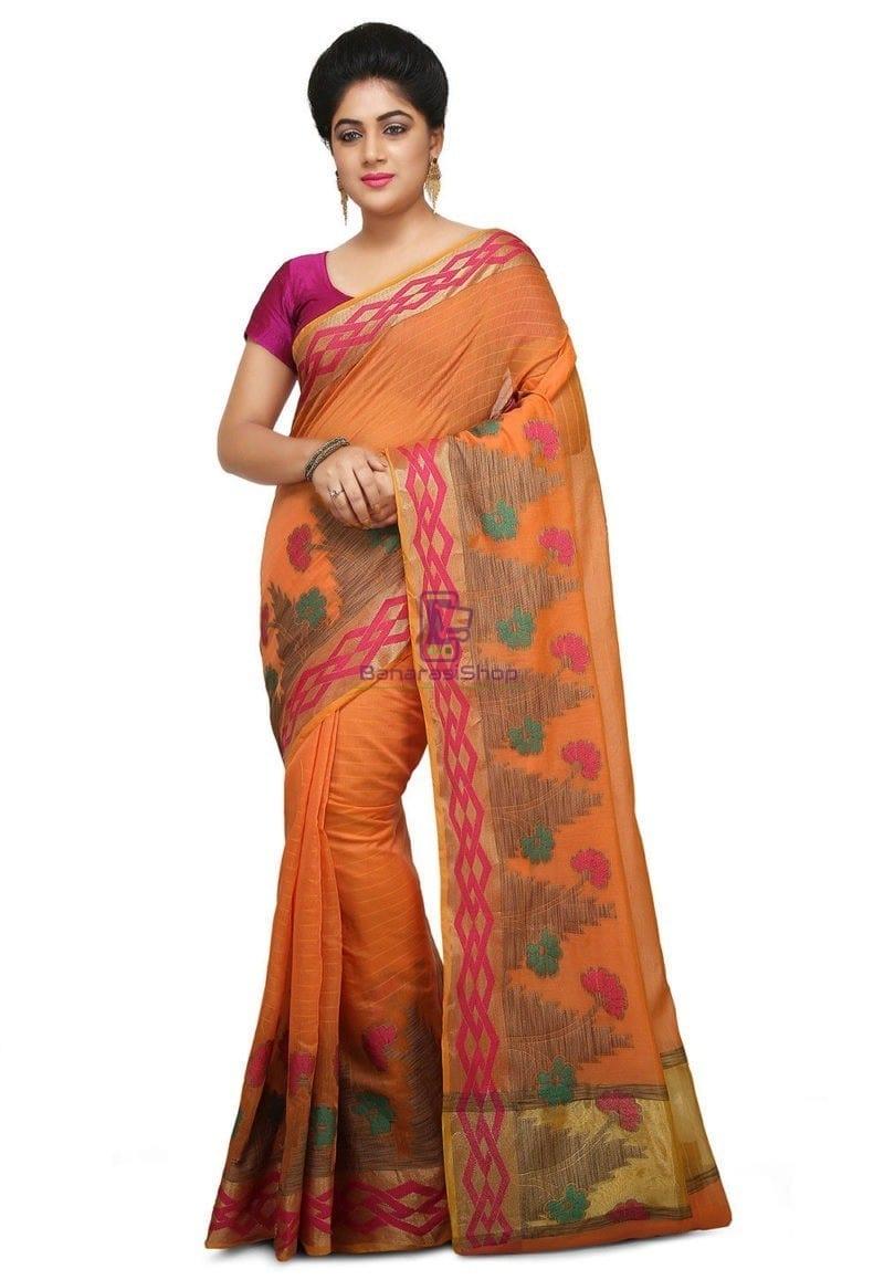 Woven Banarasi Cotton Silk Saree in Peach 1