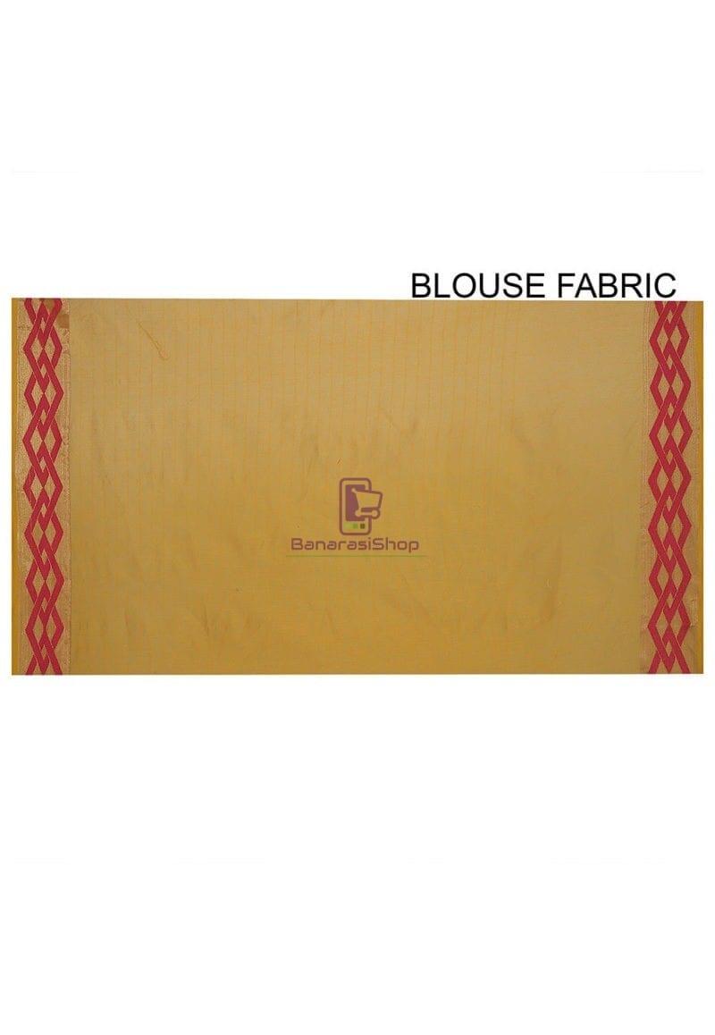 Woven Banarasi Cotton Silk Saree in Mustard 3