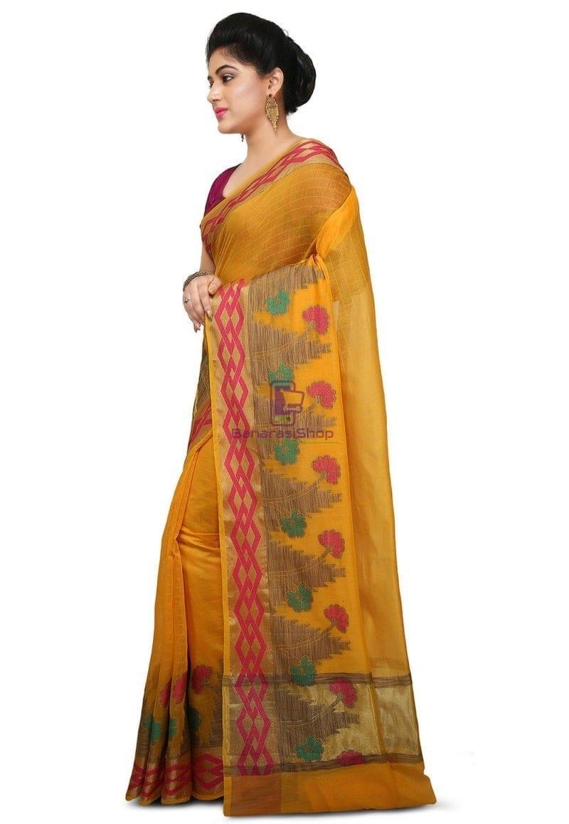 Woven Banarasi Cotton Silk Saree in Mustard 2