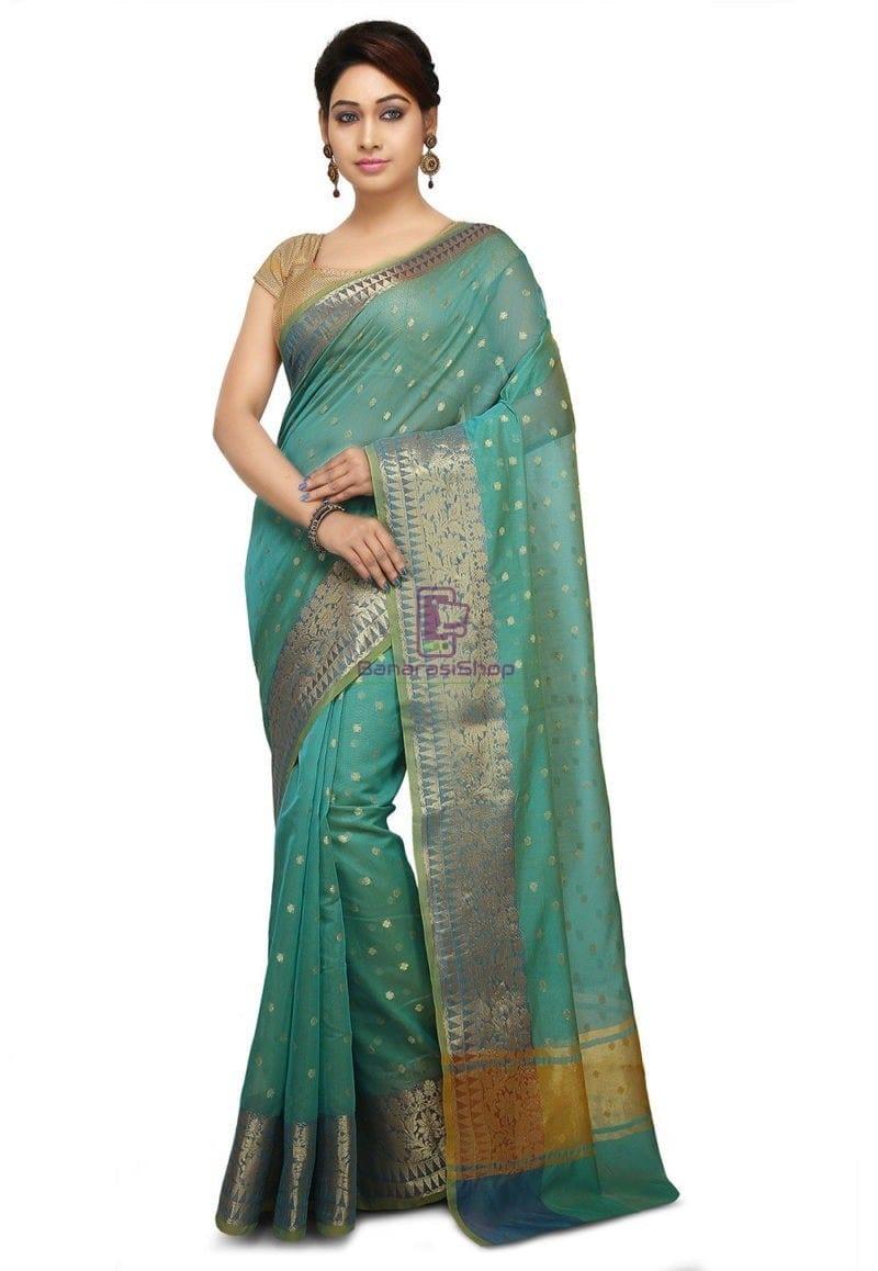 Woven Banarasi Cotton Silk Jacquard Saree in Sky Blue 1