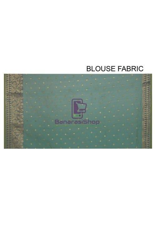 Woven Banarasi Cotton Silk Jacquard Saree in Sky Blue 5