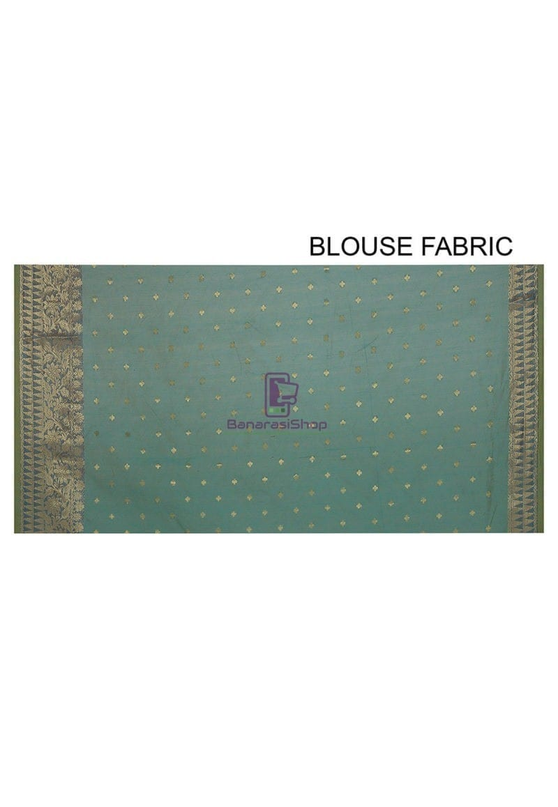 Woven Banarasi Cotton Silk Jacquard Saree in Sky Blue 3